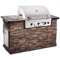 China Fire Magic Aurora A430 Natural Gas Grill in Stack Stone Grill Island with Cocoa Granite Countertop wholesale