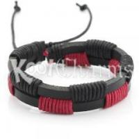 China Red Football Leather Hemp Wristband Bracelet LB77 wholesale