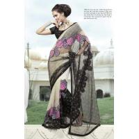China Black And White Color Net Saree wholesale