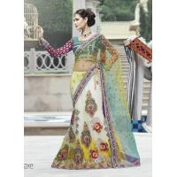 Buy cheap Green And White Color Net Lehenga Style Saree from wholesalers