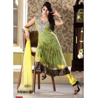 Buy cheap Yellow Color Net Churidar kameez from wholesalers