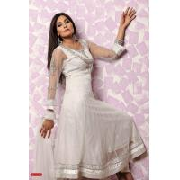 Buy cheap Off White Color Net Churidar kameez from wholesalers