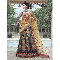 Buy cheap Golden Yellow And Gray Color Net Lehenga Style Saree from wholesalers
