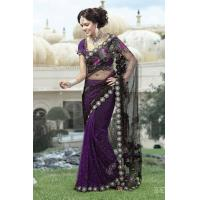 Buy cheap Black And Purple Color Net Saree from wholesalers
