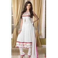 Quality Off White Color Faux Georgette Churidar kameez for sale