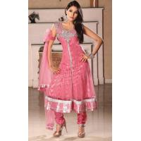 Quality Pink Color Net Churidar kameez for sale
