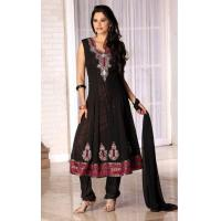 Quality Black Color Faux Georgette Churidar kameez for sale