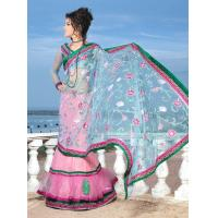 Buy cheap Light Pink Color Net Lehenga Style Saree from wholesalers