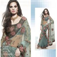 Buy cheap Light Blue Color Lehenga Style Sarees from wholesalers
