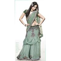 Buy cheap Light Green Color Shimmer Georgette Sarees from wholesalers