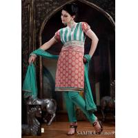 China Turquoise And Pink Cotton Super Net Churidar Kameez DN99 wholesale