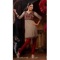 China Fawn And Red Color Imported Fabric Churidar Kameez DN107 wholesale