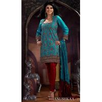 China Turquoise And Red Color Jacquard Churidar Kameez DN116 wholesale