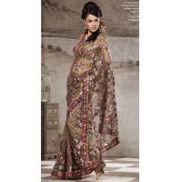 Buy cheap Light Brown Color Net Saree from wholesalers