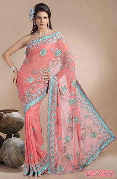 Pitch Color Shimmer Georgette Sarees