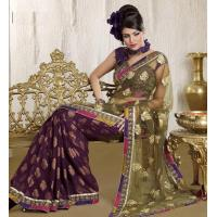 Buy cheap Purple And Light Green Color Net And Viscose Sarees from wholesalers