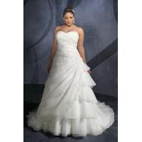 China Tiered Organza Draping Sweetheart Handmade Embroidery Discount Wedding Dress Plus Size on sale