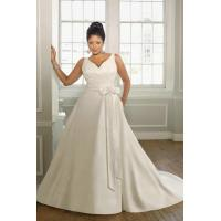 China V Neck Taffeta White Plus Size Wedding Dress 2012 With V Back And Button Details wholesale