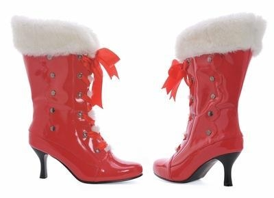Ellie Noel 257 Red Christmas Calf Boot with Faux White Fur Lining and