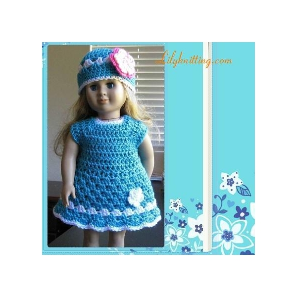 Crochet Poncho Pattern For 18 Inch Doll : PATTERN Crocheted Doll Dress for American Girl DollDoll ...