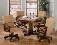 the multipurpose features of this round game table offer a