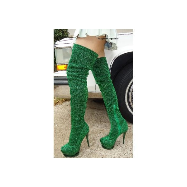 Green Over The Knee Boots - Cr Boot