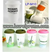 China Gifts Promotional Double wall porcelain coffee mug with silicon lid/Ceramic mug cup on sale