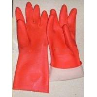 China Smooth Liner Red Rubber Latex Household Glove With Diamond Finish wholesale