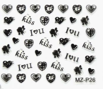 Quality Nail Stickers Rhinestone Black Pattern Nail Stickers MZ-P26 for sale
