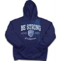 China Christian Apparel Kerusso Christian Hooded Blue Sweatshirt Be Strong 2XL wholesale