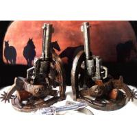China High Quality Stone Resin Cowboy Holster Pistol Bookends Set wholesale
