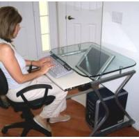 "Quality TS-278T 32"" Downview LCD or CRT Monitor Glass-Top Computer Desk for sale"