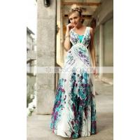 China Colorful Sheath/Column V-neck Floor-length Chiffon Printing Evening Dress wholesale