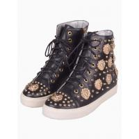 China Black Studded Leather High Top Trainers on sale