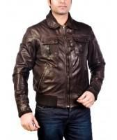 China New Dark Brown Leather Bomber Jacket For Men on sale