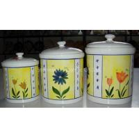 China earthenware 3pc canister set wholesale