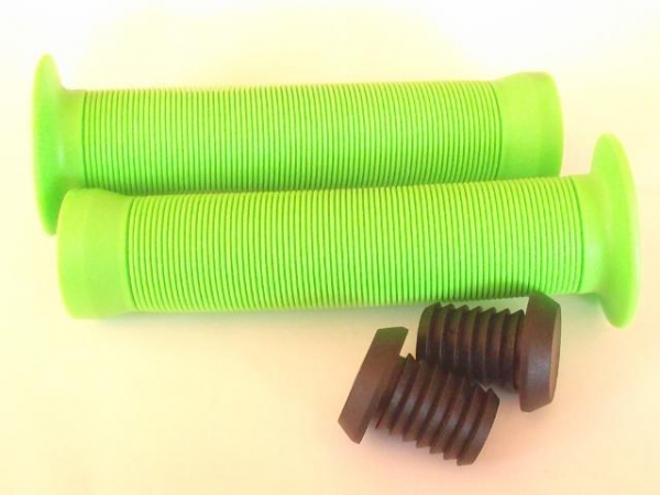 China French id Fluro Green Long neck Bar grips & Plugs