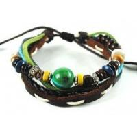 China Surfer Hemp Beads Leather Bracelet Natural Stone A046 wholesale