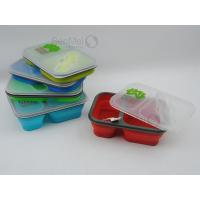 China SEM-588Collapsible Silicone Lunch Box with Fork & Spoon wholesale