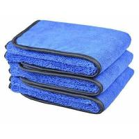 """China Microfiber Car Wash Cloths 400gsm Two Different Sides for Cleaning Polishing 3-pack 16""""x24"""", Bluex3 wholesale"""