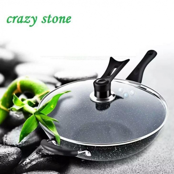 Quality Nonstick Ceramic Marble Stone Coating Saute Fry Pan/Skillet Pan Stone Coating Cookware Set for sale