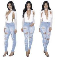 China Custom Hot Sale Ladies Denim Ripped Jeans Trousers Woman on sale