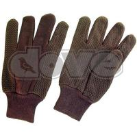 China Brown jersey PVC dots glove on sale