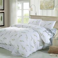 Bed Concise Style Twig Print White Cotton 4-Piece Bedding Set
