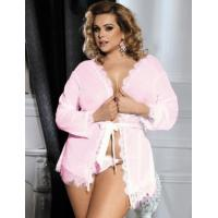 China Plus Size Lingerie Plus Size Pink Lace Trim Robe With Thong wholesale