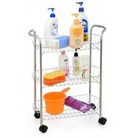 China 3 tiers chrome kitchen spice sauce storage wire rack with four wheels wholesale