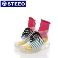 China Colorful PVC women ankle rain boots transparent with lace high heel on sale