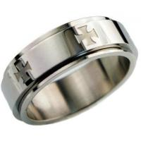 China Stainless Steel High Polished 8mm Band Spinner Knight's Templar Iron Cross Men's Ring on sale