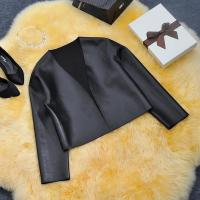 China Sex Womens Slim Black Biker Motorcycle Synthetic PU Leather Zipper Jacket Coat wholesale