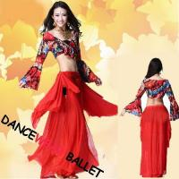 China Two Colors Colorful Printing Belly Dancewear Long Sleeve Crop Top And Skirts wholesale